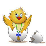 Cracked egg with cute chicks inside Stock Image