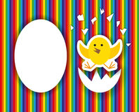 Cracked egg with cute chicks inside,happy birthday greeting card Stock Images