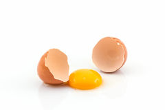 Cracked egg and shell. Stock Photos