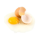Cracked egg shell with yolk and protein Royalty Free Stock Photo