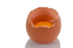 Cracked egg on the wooden holder Royalty Free Stock Image