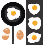 Cracked eggs, fried eggs and frying pan, vector  Stock Image