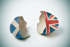 Cracked eggshell with scottish and british flags Stock Images