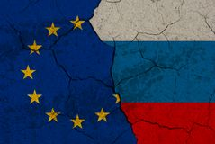 Cracked EU vs Russia flags Stock Photos