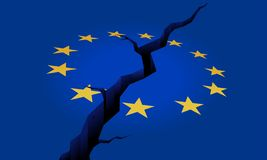 Cracked European Union, vector illustration royalty free illustration
