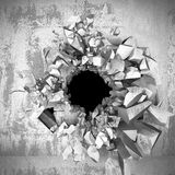 Cracked explosion concrete wall hole abstract background. 3d render illustration Royalty Free Stock Photography