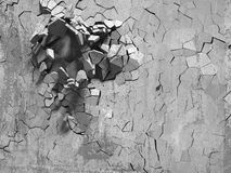 Cracked explosion concrete wall hole abstract background Stock Photos