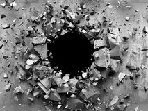 Cracked explosion concrete wall hole abstract background. 3d render illustration Royalty Free Stock Photo