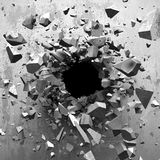 Cracked explosion concrete wall hole abstract background. 3d render illustration Stock Image