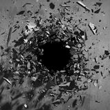 Cracked explosion concrete wall hole abstract background. 3d render illustration Stock Photos