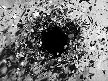 Cracked explosion concrete wall hole abstract background Royalty Free Stock Photo