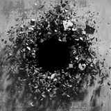 Cracked explosion concrete wall hole abstract background Royalty Free Stock Images