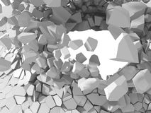 Cracked explosion white destruction surface abstract background. 3d render illustration royalty free stock image