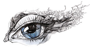 Cracked eye. Graphic painting of beautiful human eye cracked decorated vector illustration
