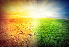 Cracked and fertile land on planet Royalty Free Stock Photos