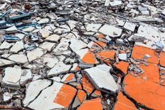 Cracked floor of destroyed building. Cracked floor of destroyed building in abandoned area Stock Images