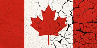 Cracked Canada Flag - Crisis. A Cracked And Fragile canadian Flag stock illustration