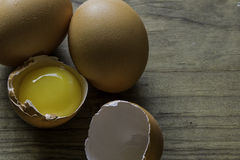 Cracked Fresh Brown Pastured Eggs Royalty Free Stock Photos