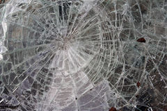 Cracked glass. Close up on shattered glass Stock Photo
