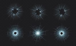 Cracked glass. Texture of broken window, smashed screen effect, bullet holes in crushed transparent glass. Vector
