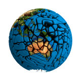Cracked Globe Earth broken 3D planet Stock Photo