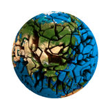 Cracked Globe Earth broken 3D planet Royalty Free Stock Image