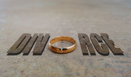 Gold ring divorce stock photo