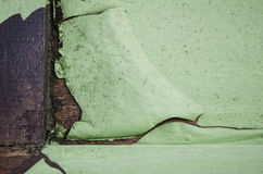 Cracked green paint on wood Royalty Free Stock Photography