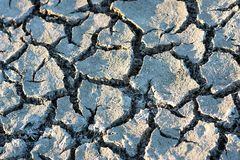 Cracked ground. When water depletes the ground is cracked stock images