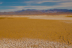 Cracked ground at the salt flats of Death Valley National Park, California royalty free stock photos