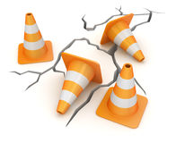 Cracked ground and traffic cone Royalty Free Stock Photo