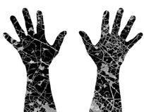 Cracked hands stock illustration