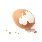 Cracked hard boiled egg isolated Stock Photos