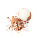 Cracked hard boiled egg isolated Stock Photo