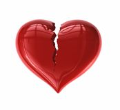 Cracked Heart. 3D rendered High Quality Valentine's Day Heart cracked down the middle Stock Image