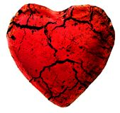 Cracked heart. Heart covered cracks on white Royalty Free Stock Photos