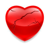 Cracked heart. Shiny red cracked heart  on white background Stock Photography