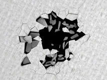 Cracked hole in concrete floor Royalty Free Stock Images