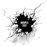 Cracked hole with space for text. In vector royalty free illustration
