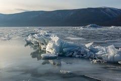 Cracked ice on the frozen Lake Baikal, Russia Stock Photos