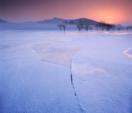 Cracked ice on the frozen river. Shoot in hebei bashang royalty free stock photos