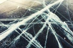 Cracked ice on the lake. Royalty Free Stock Image