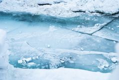 Cracked Ice Surface. Large blue cracked ice surface on the river Royalty Free Stock Photos