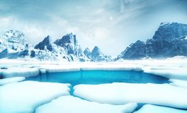 Cracked iceberg pieces with big mountains behind background stock illustration