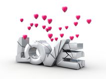 Cracked inscriptions love with flying hearts Royalty Free Stock Photo
