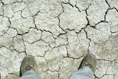 Free Cracked Land With Hiking Boots Stock Photography - 4882822
