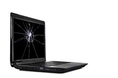 Cracked laptop Royalty Free Stock Image