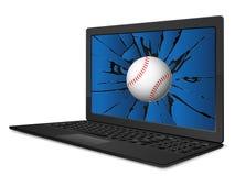 Cracked laptop baseball Royalty Free Stock Photo