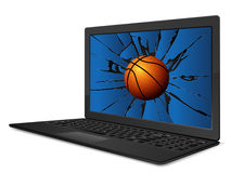 Cracked laptop basketball Royalty Free Stock Images