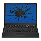 Cracked laptop Stock Photo
